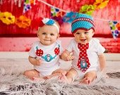 Twin First Birthday Outfits, Dr. Seuss, Cat and the Hat, Crochet Hat, Bow, Birthday Photo Props, Baby Girl, Baby Boy, Tie and Necklace