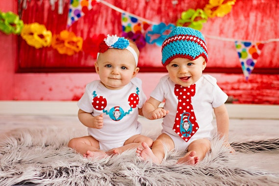 Twin First Birthday Outfits Dr Seuss Cat And The Hat