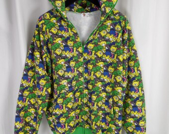 90s Baby Milo BAPE XL hoodie/ 100% cotton/made in japan/ green yellow blue grey pink animals: size XL