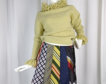 upcycled OOAK necktie mini skirt/ vintage neckties/ zig zag hem: fits US medium