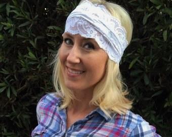 Stretch Lace Headband Stretch Lace Hearwrap Turban