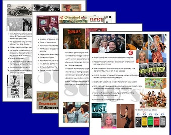 History Through the Decades PRINTABLE Digital File , 1930-2010