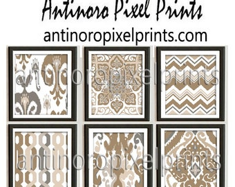 Ikat Damask Muted Browns Tans White Prints, Set of (6) Wall Art Prints, Custom Colors Sizes Available, Custom Colors Available