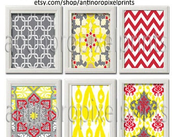Yellow Red Grey Wall Art Vintage / Modern Inspired -Set of (6) - 8x10 Prints -  (UNFRAMED)