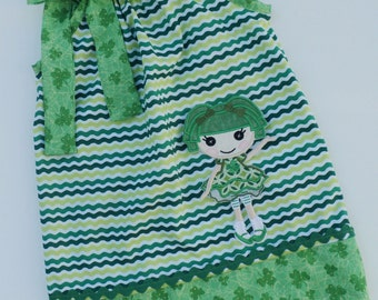 La La Loopsy Inspired St Patricks  Pillowcase dress size 0-3mo, 3-6mo, 6-12mo, 12-18mo,18-24mo, 2t.3t,.4t,5t