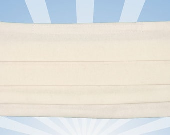 White mask, White cotton surgical face mask, washable and reusable, adjustable straps, organic, Flu mask