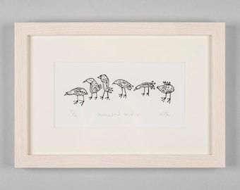 Lino Cut Print - Animated Birds