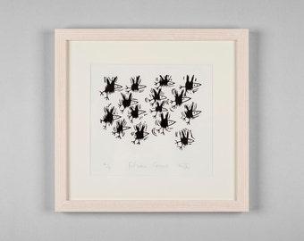 Fifteen Crows - Linocut print