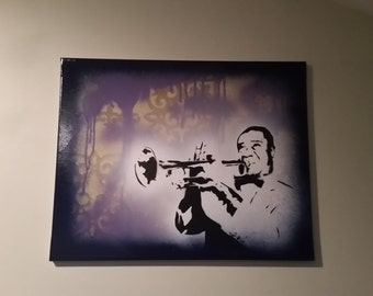 Louis Armstrong painting on 16x20 canvas - graffiti stencil art