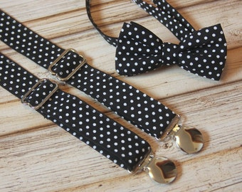 Black and White Polka Dot Bow Tie and Suspenders set ( Men, boys, baby, toddler, infant Suspender and Bowtie ) outfit