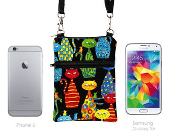 Travel Bag, Smartphone Pouch, Samsung Galaxy Purse, Cell Phone Case Crossbody, iPhone 6 Plus Zipper Shoulder Bag  - colorful cats