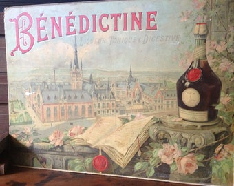French Advertisement Original Poster Louis Tauzin, Benedictine Liqueur Poster Sign