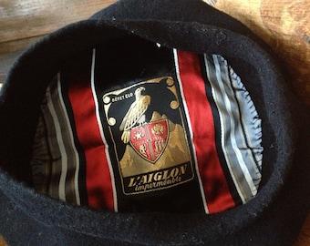 French Wool Beret Hat Cap L aiglon Pure Laine Wool Black