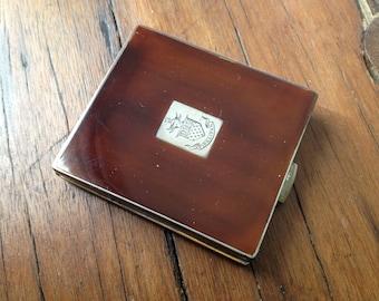 "Vintage 1930s Brown Enamel & Silver Compact ~ ""Fideliter"" English Knights Armor Crest ~ Hallmarked"
