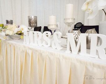 White Wedding Sign Mr & Mrs wooden letters table decor Wedding gift