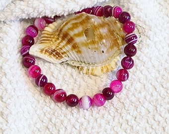 Rose Pink, Dark Pink striped agate 8mm beaded gemstone stretch, stacking, healing girls, baby bracelet  B010