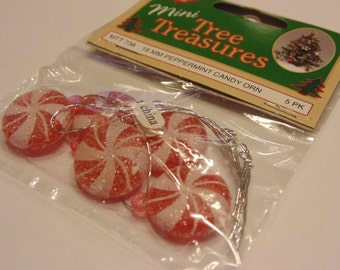 5 mini peppermint candy ornaments, 18 mm (A15)