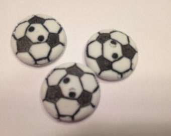 3 large soccer ball buttons,18 mm (3)