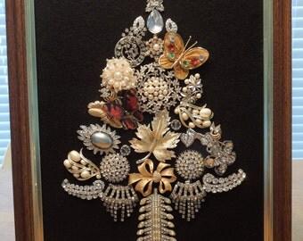 Jewelry Art, Christmas Tree, Vintage Jewelry Pieces,  Rhinestones, Stunning  Hand Made