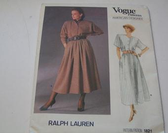Vintage Vogue Pattern 1821 Ralph Lauren American Designer Miss Dress
