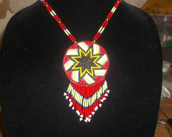 morning-star necklace,native american,pow-wow, beadwork,medallion, native made