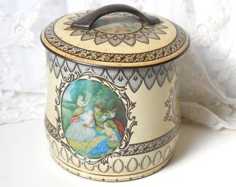 vintage cookie tin container vintage biscuit tin metal tin canister English tin box shabby chic