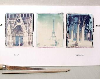 Paris.  France.  Vintage Travel Photographs.  Polaroid Transfers Printed on Hand-Built Ceramic Slab.