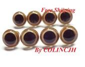 7.5mm Safety Eyes Plastic Eyes Animal Eyes Bear Eyes Plug-In--Golden-10pairs