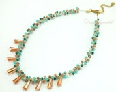 Topaz,turquoise on silk thread necklace.