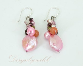 Pink shell,freshwater pearl,crystal earring hook.