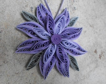 Purple Christmas tree ornament Gray Paper decoration Flower ornament Snowflake Modern Trendy Holidays decor