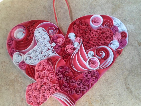 Huge quilled heart wall hanging door hanging valentine 39 s for Big quilling designs