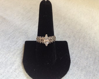 Vintage 925 Sterling Silver and CZ Ring