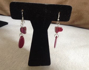 Vintage Silvertone and Pink Accent Earrings