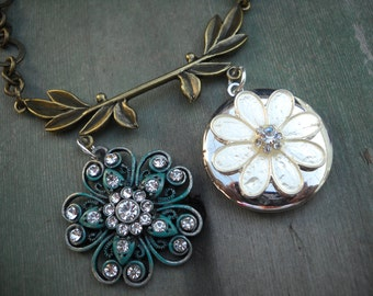 Blooming Branch Necklace/Double Pendant/Locket/Patina/Victorian/Edwardian.Boho/Mixed Metal
