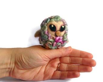 Miniature Curly Owl - Felted Cute Owlet Fibre Soft Sculpture