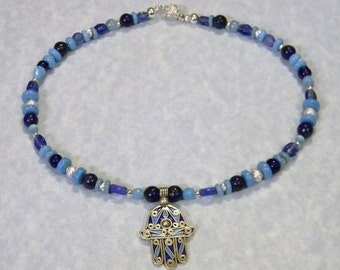 Shades of Blue Tuareg Berber Hamsa on Moroccan Glass Bead Necklace