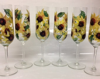 Wedding, Brides maid, anniversary Champagne Flutes set of 6 Sun Flower