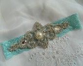 Wedding Keepsake Garter, Vintage Keep Garter , Aqua Blue Lace Garter- pearl and rhinestone Garter
