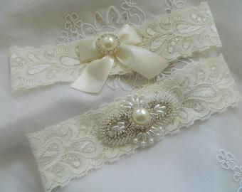 Wedding Garter Set - Bridal Garter Set,Ivory Pearl and Rhinestone Garter Set on a Ivory stretch Lace