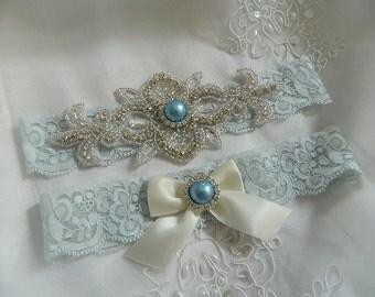 Wedding Garter, Vintage Garter set, Light Blue Lace Garter, Blue Garter Set-Lace Bridal Garter Set-Iight Blue Bridal Garter Belt