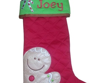 Christmas stocking personalized - Gingerbread quilted - custom embroidery
