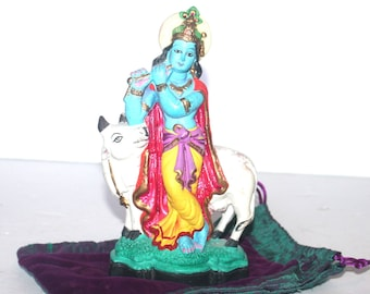 Vintage Krishna with Cow Clay Painted Statue, Hindu Idol,  Antique Alchemy
