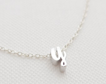 Silver Cursive Initial Necklace - tiny letter necklace - delicate necklace - delicate jewelry - Christmas gift for her