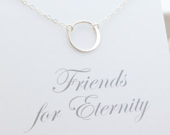 Best Friend Necklace - friendship necklace - eternity ring necklace - karma circle necklace - sterling silver jewelry - friendship jewelry