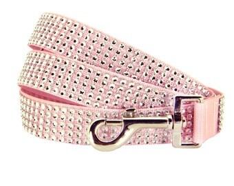 Pink Rhinestone Dog Lead/ Dog Leash: Silver/Blush Rhinestone