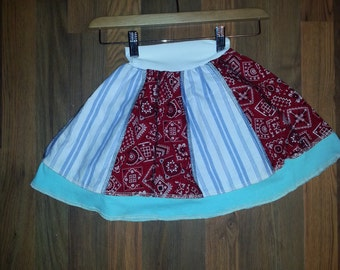 Child's skirt little girl skirt up cycled bohemian skirt size 3 yrs pleated cute ooak patch work skirt