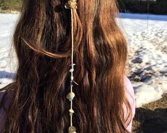Boho/indie seashell hair piece,seashell bead clip on hair extension,Hair jewelry,bohemian headpiece,coachella