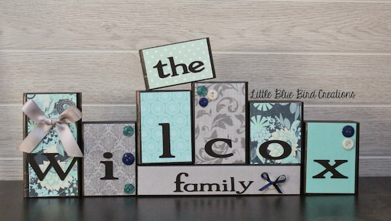 Personalized wood blocks - family name wood sign - wood letters - handmade - custom wood block set - personalized christmas gift