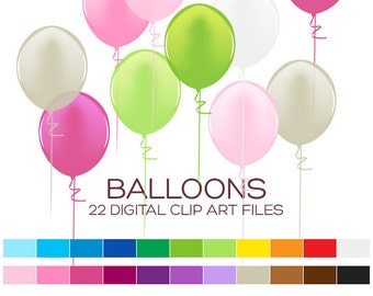 Party Balloons Clipart for Personal & Commercial Usage - 22 digital balloons/ 4x1.5 inches - A00035
